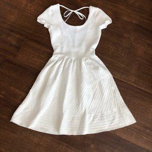 SANDRO White Rami Knit Open Back Mini Dress